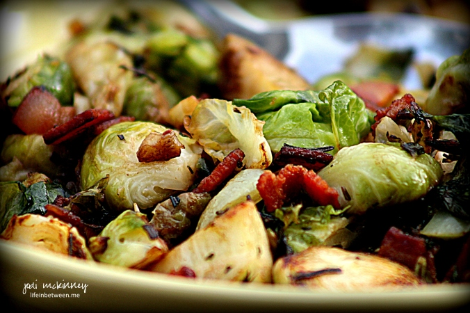 Sauteed Brussels Sprouts with Bacon Onion and Rosemary 2