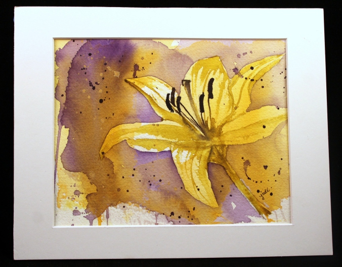 tiny glow yellow lily original watercolor