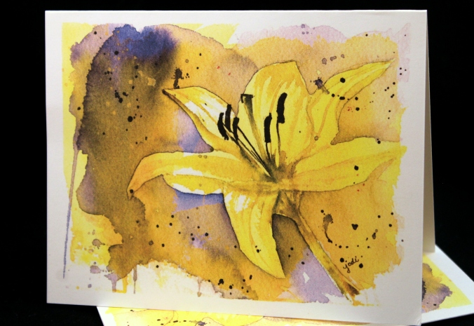 tiny glow yellow lily photo of cards