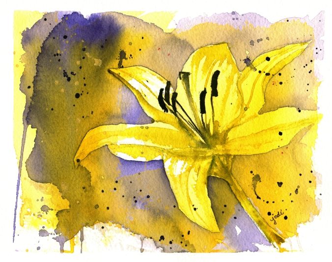 tiny glow yellow lily print 2