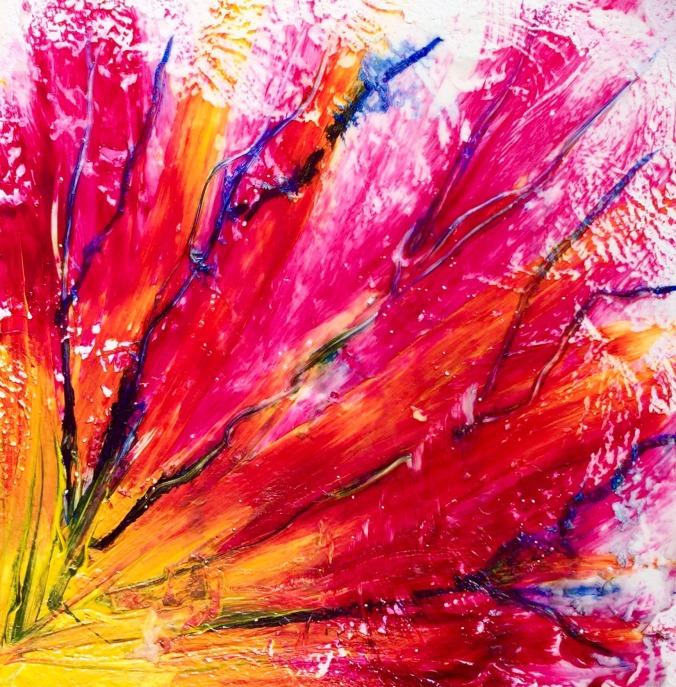 abstract acrylic quinacridone magenta hansa yello indigo high flow on 6x6 aquaboard