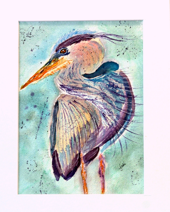 blue heron with purple feathers original watercolor 9x12 arches 300 lb cold press