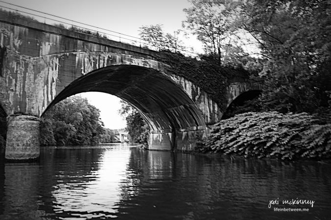 Bridge Curve Kiskiminetas River Monochrome Black and White