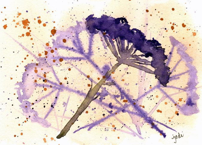 Flower seed pods blowing in the wind watercolor in violet and raw sienna
