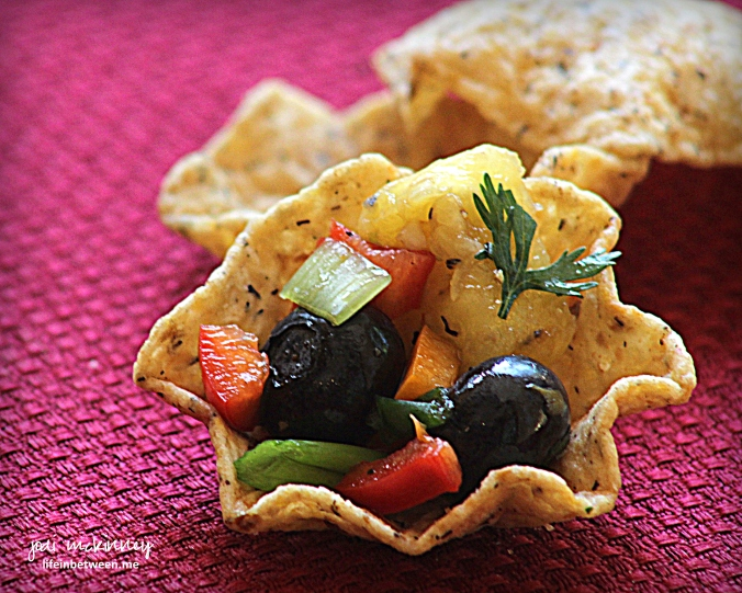 Pineapple Blueberry Salsa on Whole GrainTostitos Scoop