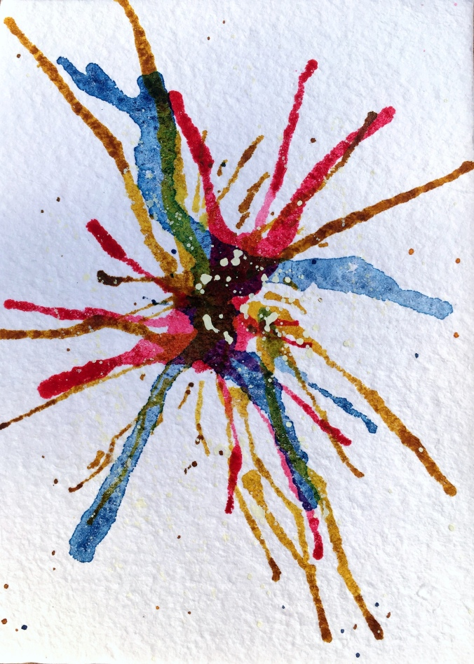 watercolor fireworks 5x7 fourth of july
