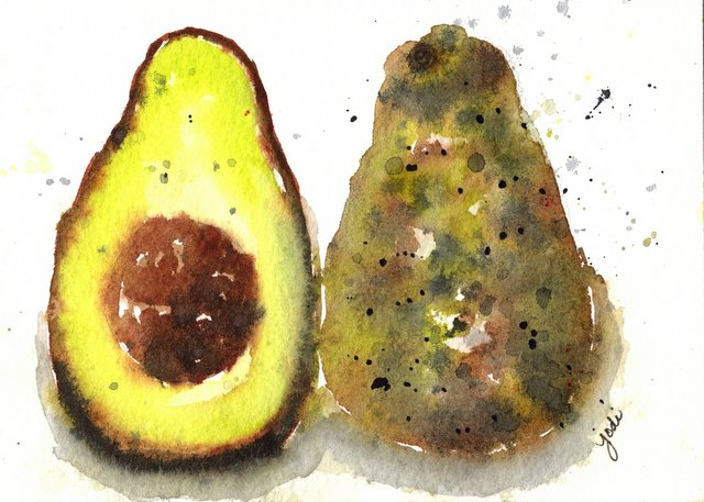 Avocado Watercolor - 5x7 Arches 140lb Rough - Ansa Yellow, Green-Gold, Panes Gray, Burnt Umber