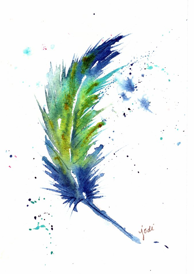Blue Watercolor Feather - 5x7 Arches 140lb Cold Press - Prussian Blue, Cobalt Teal, Quinacridone Gold
