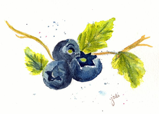 blueberry watercolor 5x7 arches 140lb rough prussian blue panes gray green gold