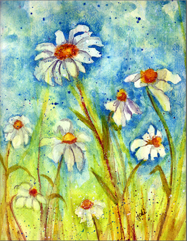 10 x 14 Watercolor Daisies in a Field - Gesso Base on 300# Arches Cold Press