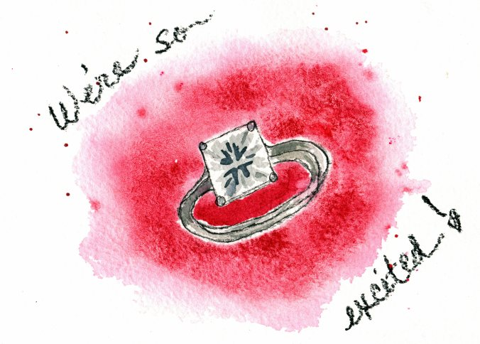 Engagement Ring Watercolor 5x7