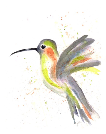 hummingbird watercolor 8 x 10 300# Arches Cold Press