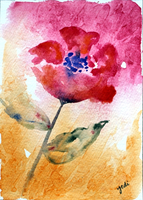 pink and orange watercolor flower 5x7 sakura koi