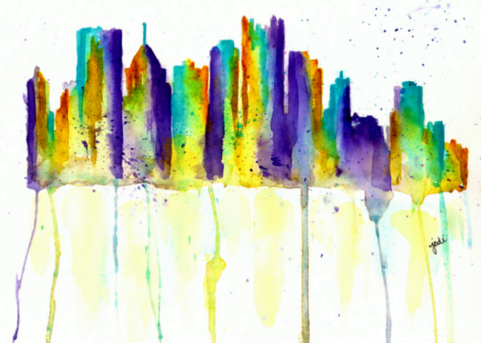 Pittsburgh CityScape Watercolor