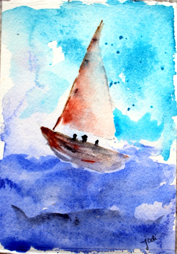 sailboat 5x7 sakura koi