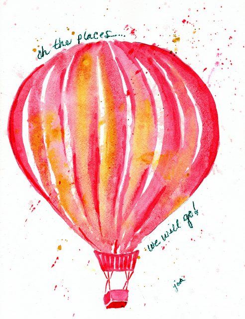 Watercolor Pink Hot Air Balloon 8x10 140lb Arches Cold Press Quin Magenta & Quin Gold - Rekab 320s Brush