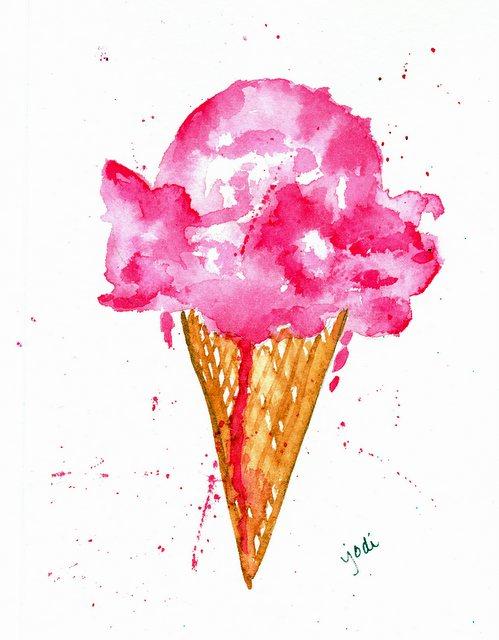 Watercolor Ice Cream Cone 5 x 7 140 lb Arches Cold Press - Raw Sienna & Permanent Rose
