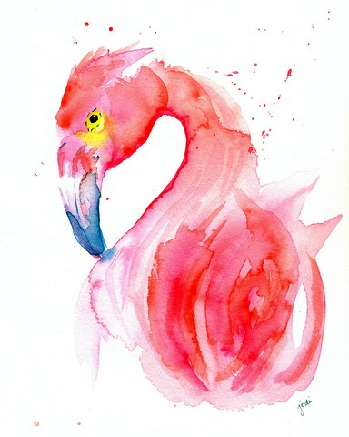 Pink Flamingo Watercolor 8x10