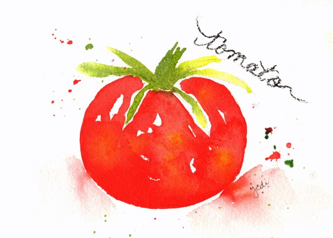 Tomato watercolor 5x7 arches 140lb rough DS Pyrrol Scarlett Hanssa Yello Green Gold Sap Green