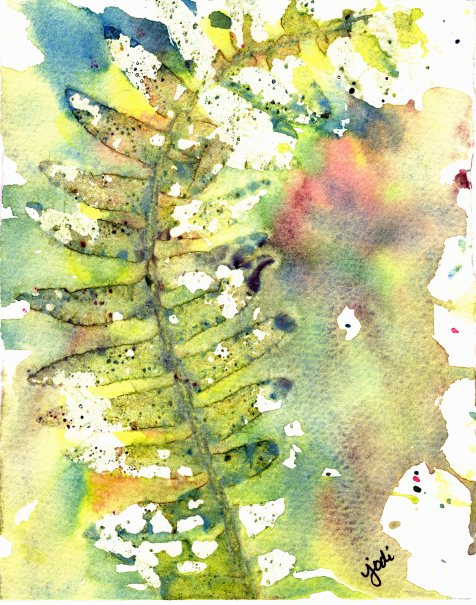 abstract fern watercolor 5x7