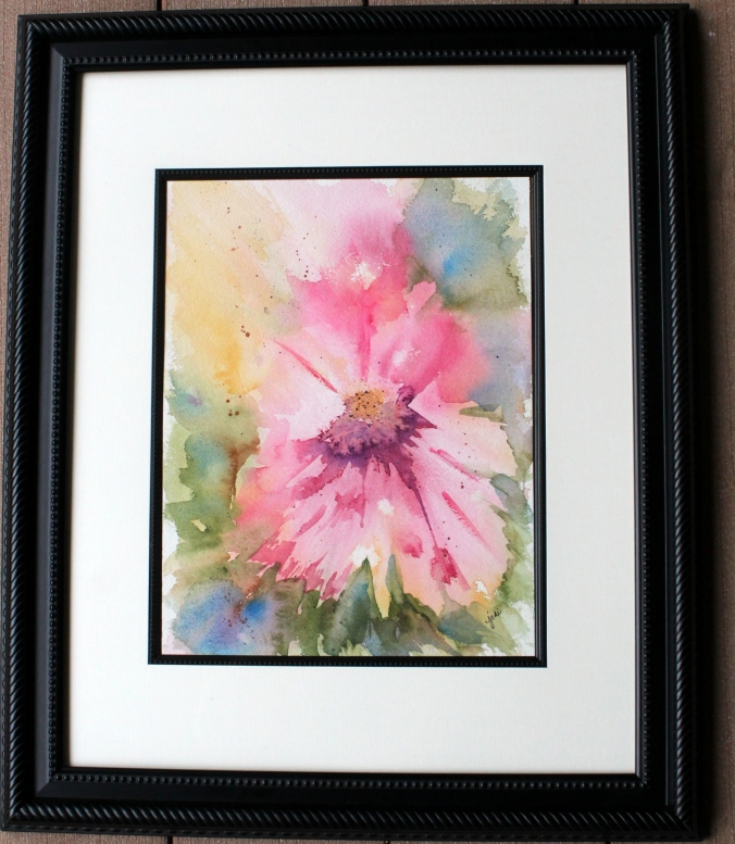 abstract pink floral watercolor 10 x 14 Arches 300 lb cold press matted and framed