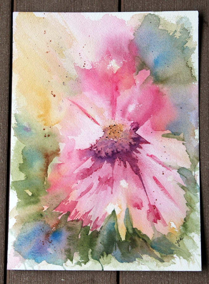 abstract pink floral watercolor 10 x 14 Arches 300 lb cold press