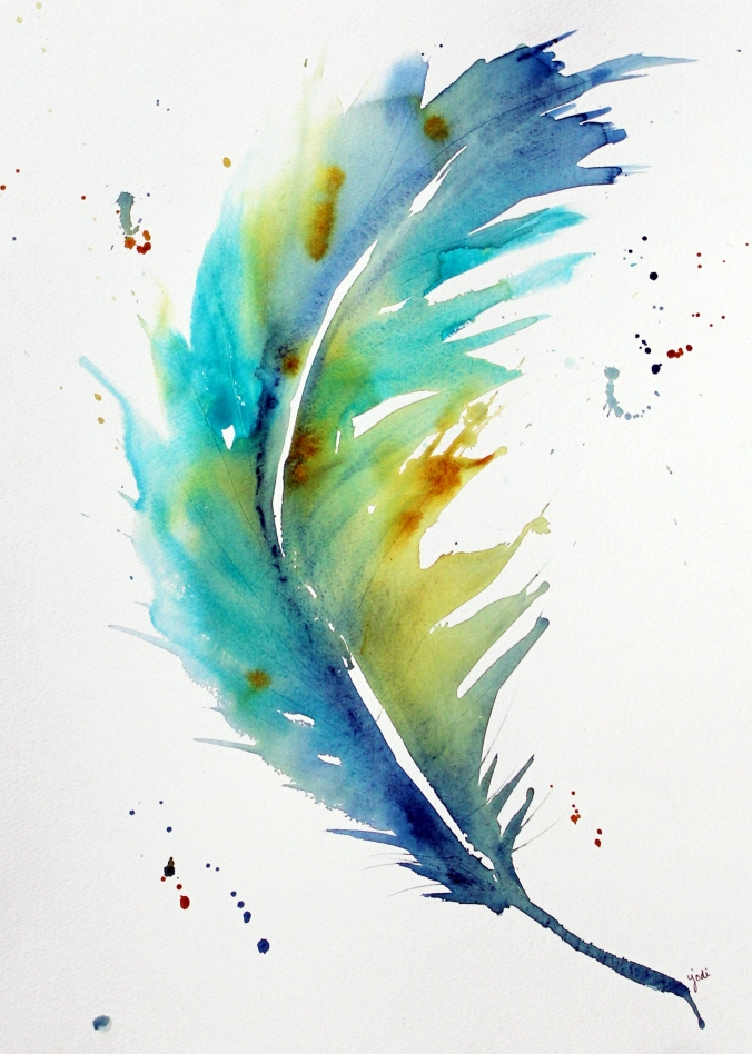 Blue Feather Large 16 x 20 Watercolor on Fabriano Artistico 300 lb Cold Press