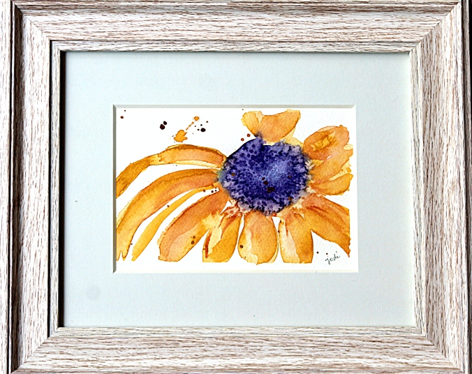 brown eyed susan watercolor 5x7 matted and framed to 8x10