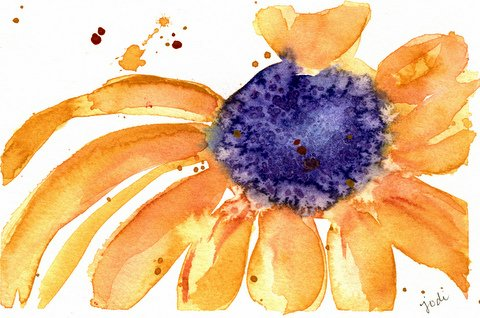 Brown Eyed Susan Watercolor 5x7