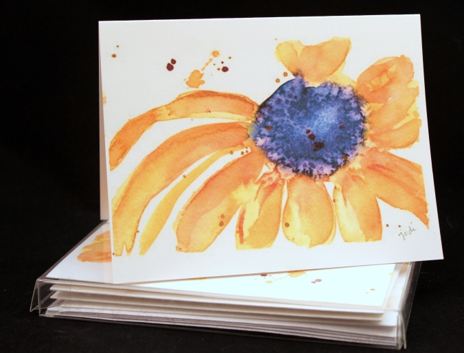 brown eyed susan watercolor card set