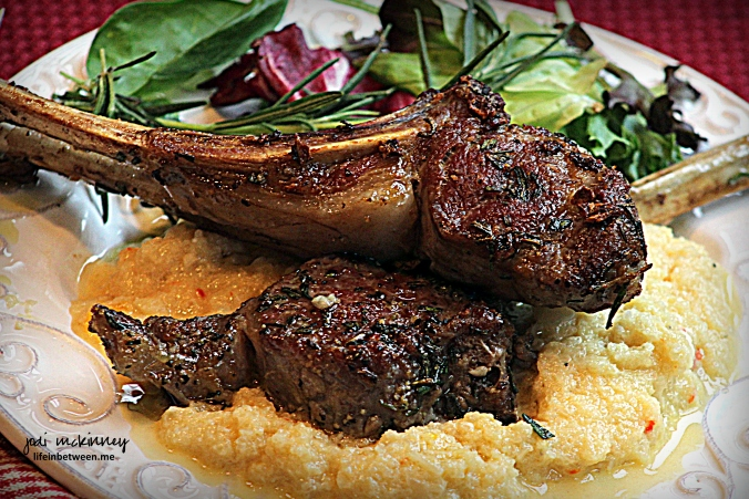 Creamy Cauliflower Rissoto and Lamb Chops