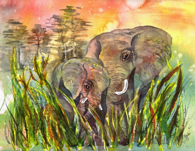 Elephant Mom and Baby Watercolor 10x12 Fabriano Artistico 300lb