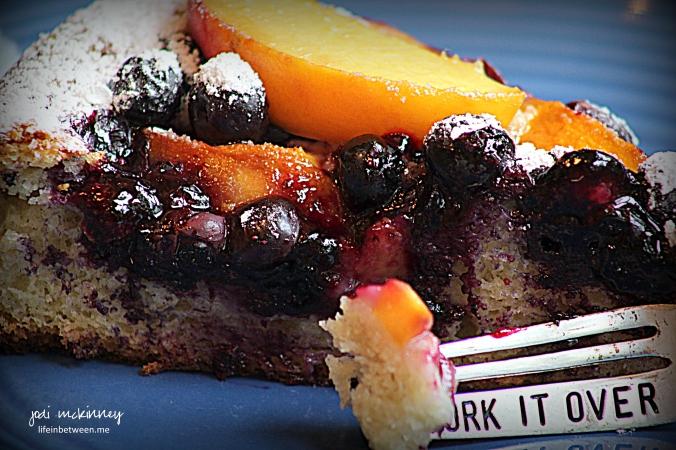 Peach Blueberry Greek Yogurt Cake slice