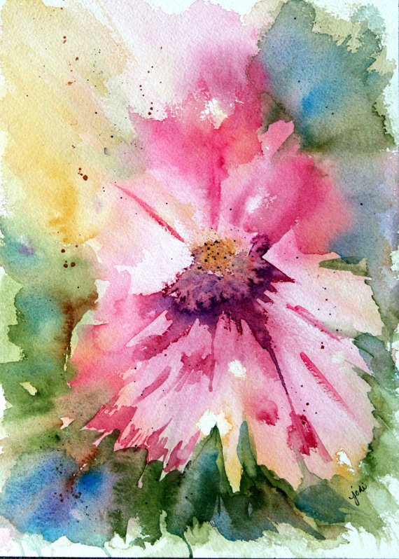 pink abstract watercolor