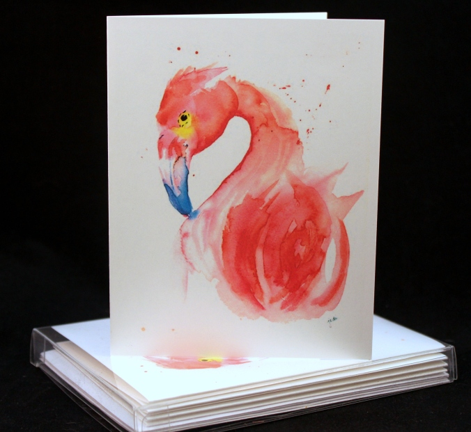 pink flamingo 2 watercolor card set