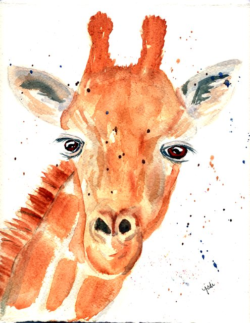 Genevieve the Giraffe - Watercolor 10x11 300lb Fabriano Artistico