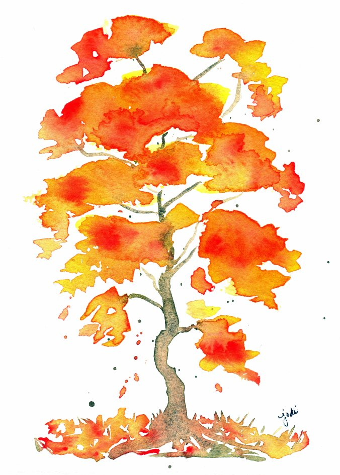 autumn-tree-watercolor-5x7-140-lb-fabriano-artistico