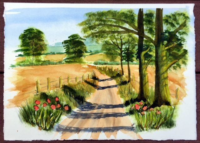Country Lane Late Summer Landscape Watercolor 11x14 Artistico