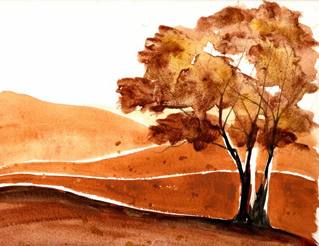 monochromatic-fall-landscape-raw-and-burnt-sienna-quin-gold-10x12-300lb-fabriano-artistico