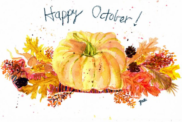 Happy October Watercolor - Coffee Table Pumpkin Centerpiece - 6x9