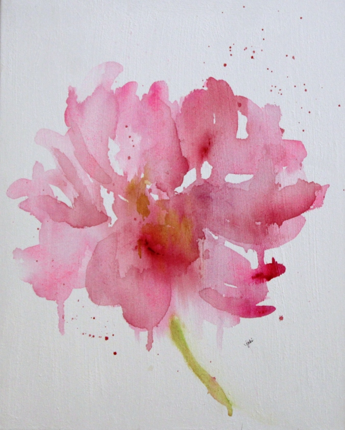 Watercolor Pink Peony on 16 x 20 Canvas