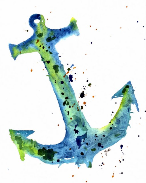 Prussian Blue, Cobalt Teal Blue, Quin Gold Watercolor Nautical Anchor 8x10