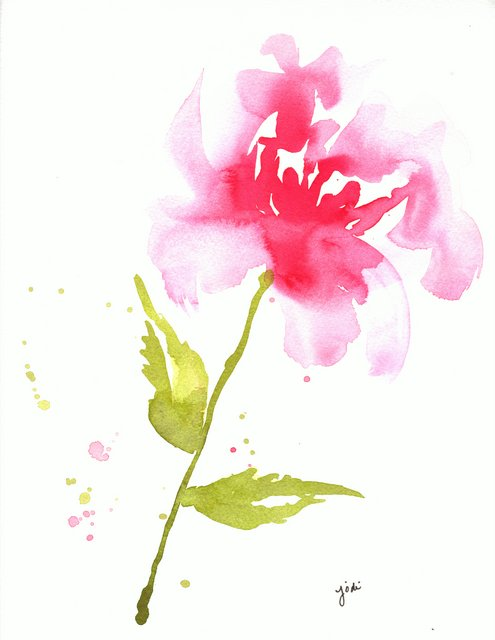 Pink Loose Abstract Watercolor Flower - 9x12