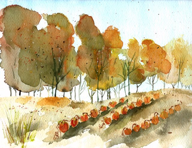 Autumn in the Pumpkin Patch 9x12 Watercolor