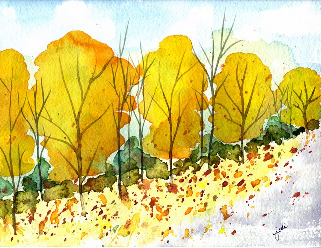 Autumn's Golden Glow - 9x12 Watercolor Painting
