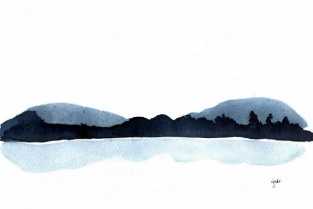 Tranquil Trees & Peaceful Mountains - 7x9 Watercolor in Prussian Blue & Panes Gray