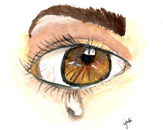 Hazel Eye with Tear Drop Watercolor 5x6 Fabriano Artistico