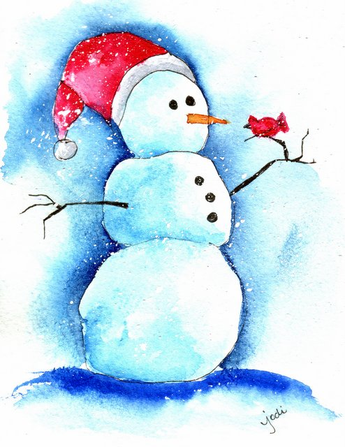 Seymour Snowie - Watercolor Holiday Snowman with Cardinal - 4 1/4 x 5 1/2