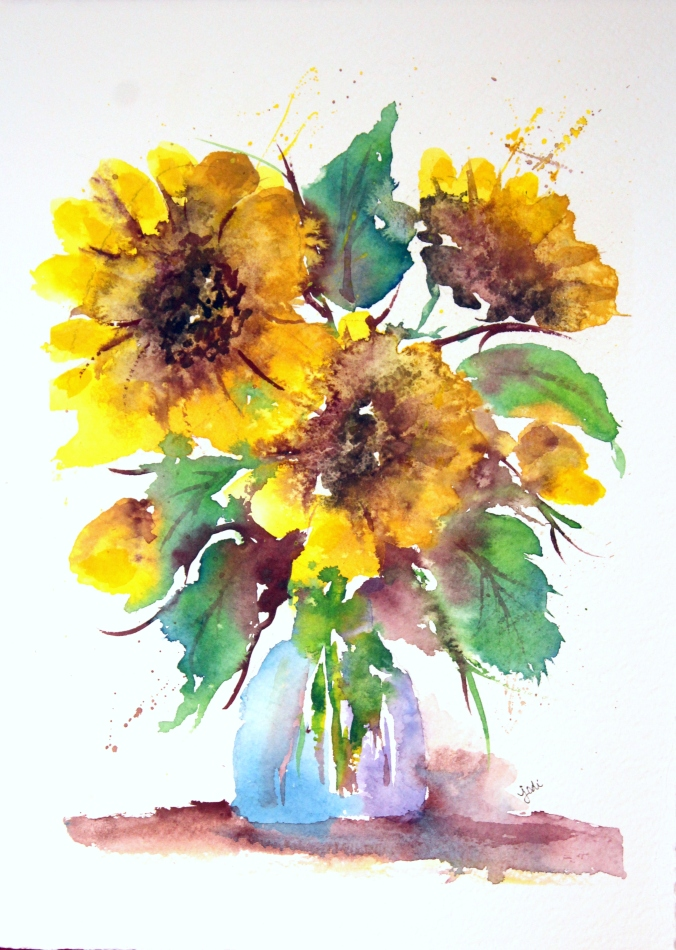 loos-yellow-sunflowers-in-vase-watercolor-11x14-300-lb-arches