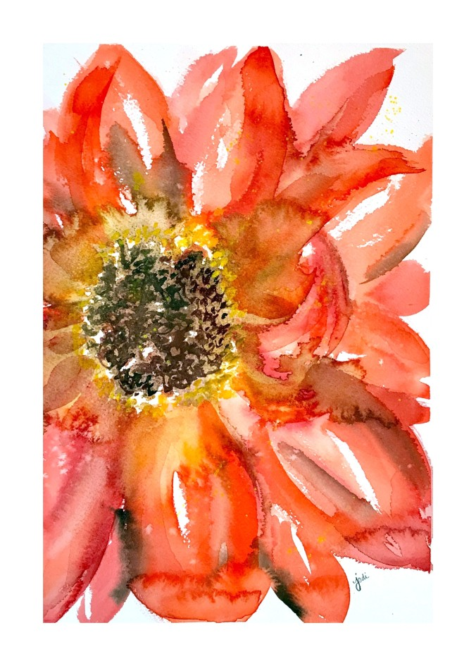 red-abstract-floral-watercolor-11x14-with-white-frame